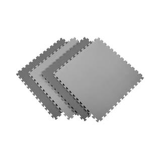 Reversible Multi-Purpose 24 in. x 24 in. x .75 in. Interlocking Black/Gray Foam Flooring Recyclamat (4-Pieces)