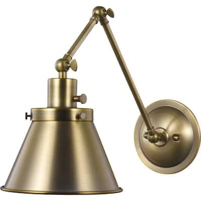 Hinton 1-Light Vintage Brass Swing Arm Wall Bracket