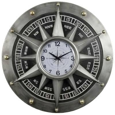 31 in x 31 in Silver Compass Metal Wall Clock