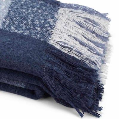 """Plaid Blue Faux Mohair 60in L"""" x 50in. W"""" Throw"""