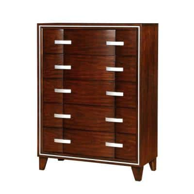 Safire Brown Cherry Contemporary Style Chest of Drawers