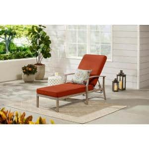Beachside Rope Look Wicker Outdoor Patio Chaise Lounge with CushionGuard Quarry Red Cushions