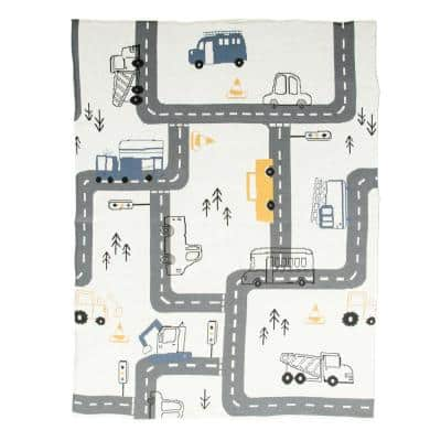 Multi-Color Cotton Knit with Roads, Cars and Trucks Baby Blanket