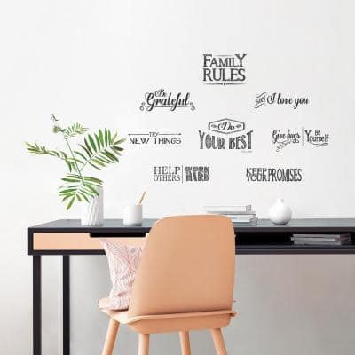 Black Lettering Family Rules Peel and Stick Wall Decals (2-Sheets)