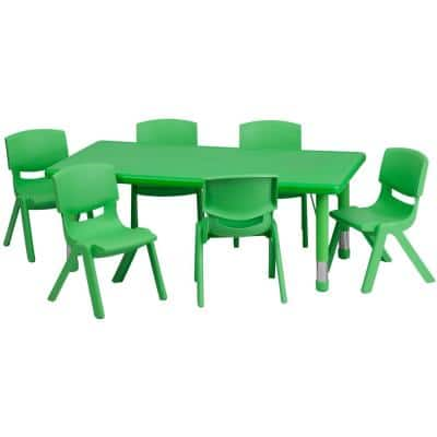 Green 7-Piece Table and Chair Set