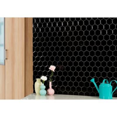 Black Hexagon 11.63 in. x 12.75 in. x 6mm Matte Porcelain Mesh-Mounted Mosaic Tile (14.4 sq. ft./Case)