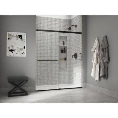 Elate 59.625 in. W x 70.5 in. H Sliding Frameless Shower Door in Matte Black with Crystal Clear Glass