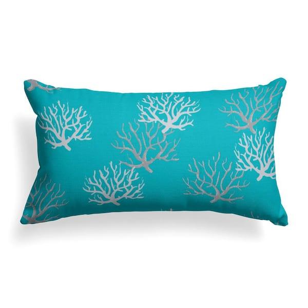 Grouchy Goose Reef Turquoise Lumbar Outdoor Throw Pillow-01305 - The Home  Depot