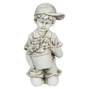 Solar Boy With Flower Pot Statue