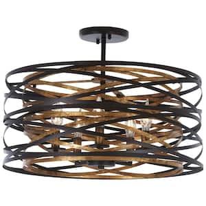 Vortic Flow 5-Light Dark Bronze with Mosaic Gold Interior Convertible Semi-Flush Mount