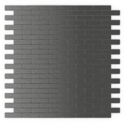 Bricky DG Dark Grey 11.81 in. x 11.42 in. x 5mm Metal Peel and Stick Wall Mosaic Tile (22.8 sq. ft./Case)