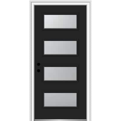 36 in. x 80 in. Celeste Right-Hand Inswing 4-Lite Frosted Glass Painted Steel Prehung Front Door on 4-9/16 in. Frame