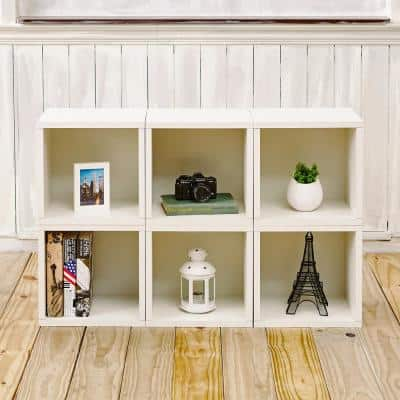26 in. H x 40 in. W x 11 in. D White Recycled Materials 6-Cube Storage Organizer