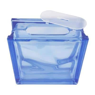 7.5 in. x 7.5 in. x 3.125 in. Blue Wave Pattern Glass Block for Arts and Crafts (5-Pack)