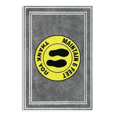 """Message Charcoal/Yellow 24 in. x 36 in. """"Maintain 6 Feet Thank You"""" Commercial Floor Mat"""