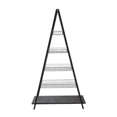 74.75 in. Black Metal 5-shelf Ladder Bookcase with Open Back