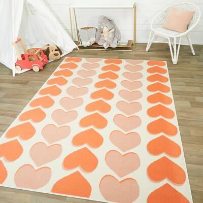 Happy Hearts Beige 5 ft. x 7 ft. Area Rug
