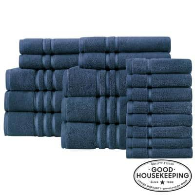 Turkish Cotton Ultra Soft 18-Piece Towel Set in Navy