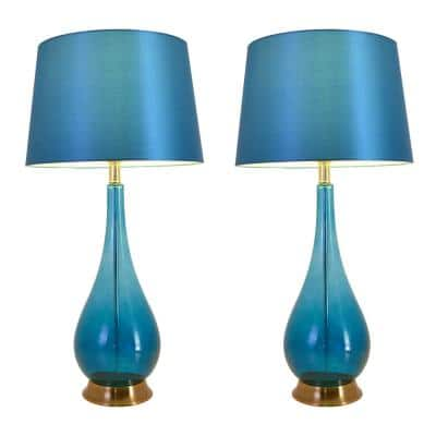 Tulip 30 in. Blue Chrome Ombre Indoor Table Lamp with Shade, Set of 2
