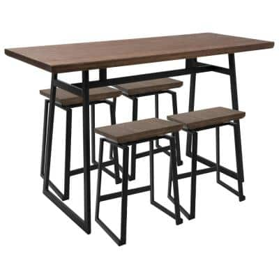 Geo 5-Piece Black and Brown Counter Height Dining Set