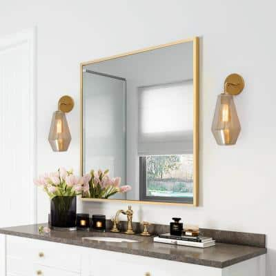 1-Light Modern Brass Gold Wall Sconce Bathroom Vanity Light with Smoked Glass Shade