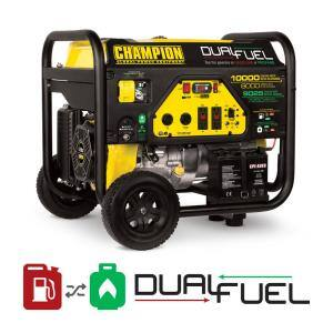 10,000/8,000-Watt Gas and Propane Powered Dual Fuel Portable Generator
