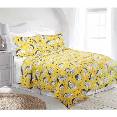 Ziggy Zebra Yellow and Black Reversible Super Soft Cotton Full/Queen Quilt Set