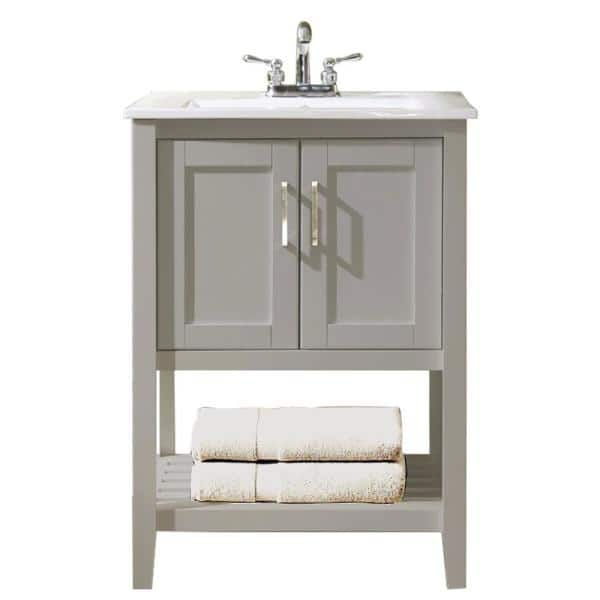 Design House Valerie 24 In X 21 In Bath Vanity Cabinet In Gray With White Cultured Marble Vanity Top With White Rectangle Basin 546846 The Home Depot