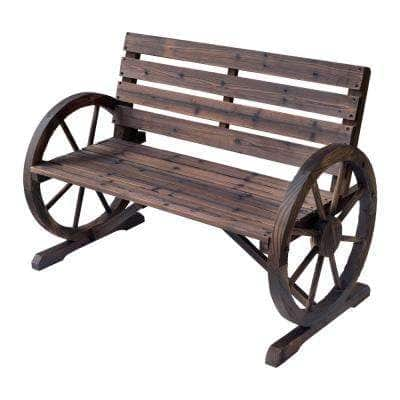 Rustic Wooden Outdoor Patio Wagon Wheel Bench Seat with Unique Rustic Style and Durable Fir Wood Construction