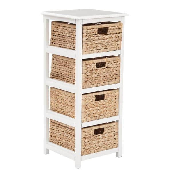 Osp Home Furnishings Seabrook White 4, White Storage Furniture With Baskets