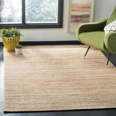 Cape Cod Natural 8 ft. x 10 ft. Solid Striped Area Rug