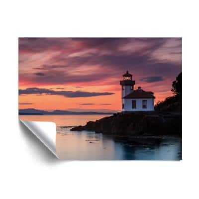 """""""Orange sunset at Lime Kiln lighthouse"""" Beach and Natural Removable Wall Mural"""