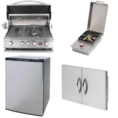 4-Burner Built-In Propane Gas Grill in Stainless Steel with 30 in. Double Access Door, Mini Fridge and Side Burner