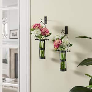 Urbanne Rustic Black Metal Wall Mount Hanging Glass Cylinder Decorative Vases (Set of 2)