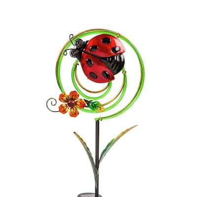 Ladybug 36 in. Chasing Light Solar Swirl Garden Stake