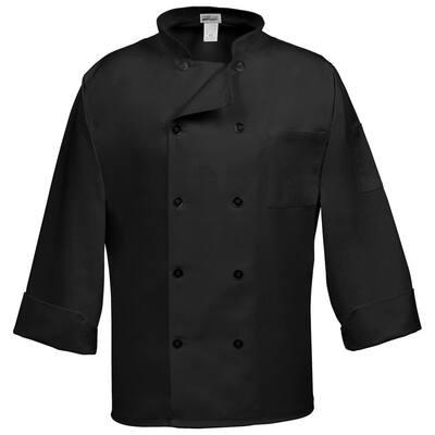C10P Unisex XL Black Long Sleeve Classic Chef Coat