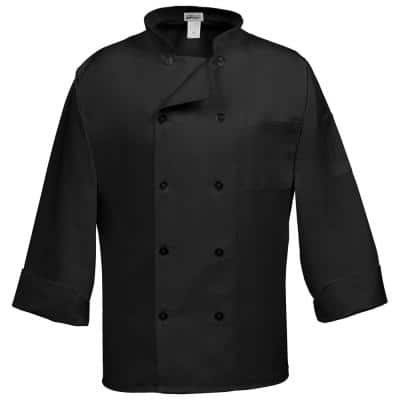 C10P Unisex 3X Black Long Sleeve Classic Chef Coat