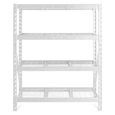 White 4-Tier Heavy Duty Steel Garage Storage Shelving Unit (60 in. W x 72 in. H x 18 in. D)