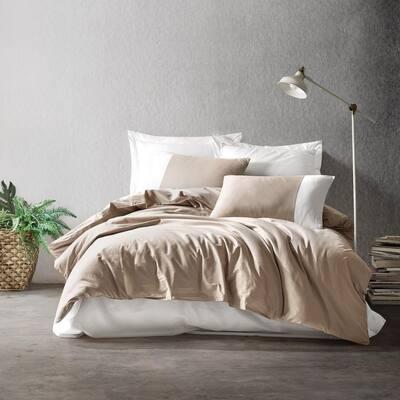 Dream Cream Duvet Cover Set : Mink, 1 Duvet Cover, 1 Fitted Sheet and 2 Pillowcases, Full Size Duvet Cover Set