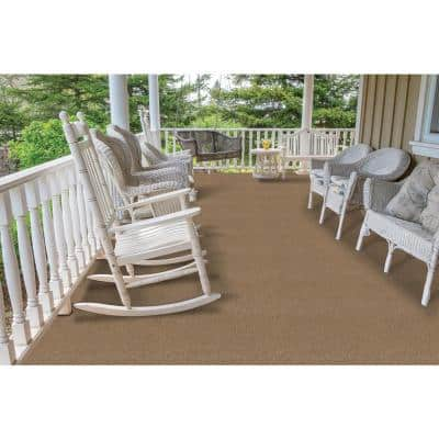 Elevations - Color Stone Beige 6 ft. Indoor/Outdoor Ribbed Texture Carpet