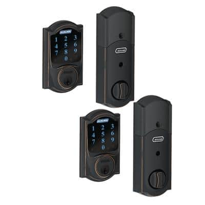 Camelot Aged Bronze Connect Smart Door Lock with Alarm (2-Pack)