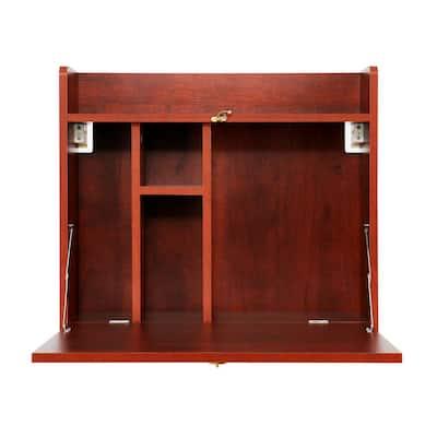 24 in. Brown Retangular Wood Computer Desk with Storage Shelves