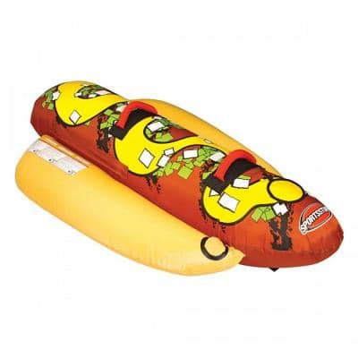 Beige PVC Hot Dog 2-Person Inflatable Boat Lake Water Towable Tube