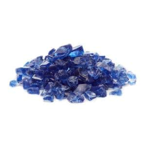1/2 in. to 3/4 in. Ocean Blue Classic Fire Glass (25 lbs. Bag)