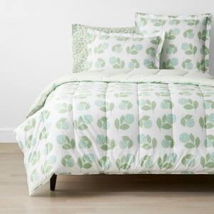 Company Cotton Hydrangea Green Floral Full Percale Comforter