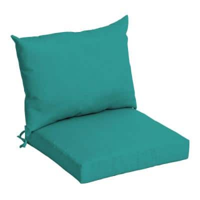 21 in. x 17 in. 2-Piece Deep Seating Outdoor Lounge Chair Cushion in Surf Teal Acrylic