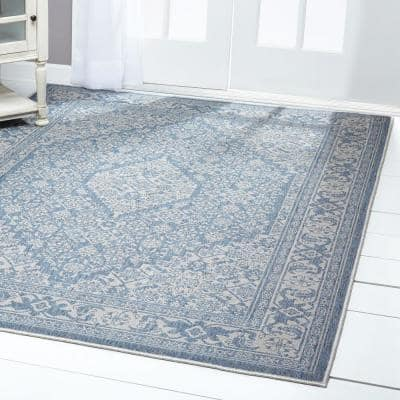 Patio Country Blue/Gray 7 ft. 9 in. x 10 ft. 2 in. Indoor/Outdoor Area Rug