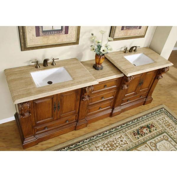 Silkroad Exclusive 95 In W X 23 In D Vanity In Cherry With Stone Vanity Top In Travertine With White Basin Hyp0907tuwc95 The Home Depot