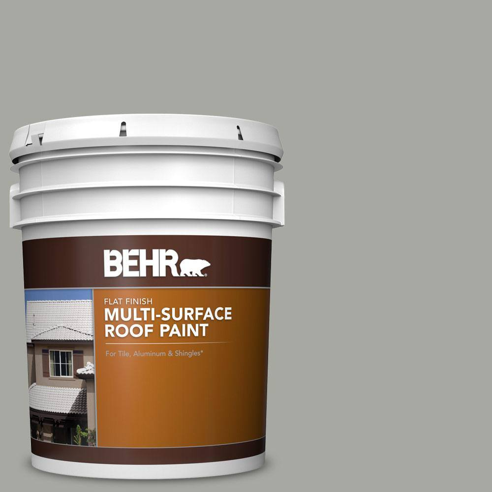 BEHR 5 gal. #PFC-68 Silver Gray Flat Multi-Surface Exterior Roof Paint