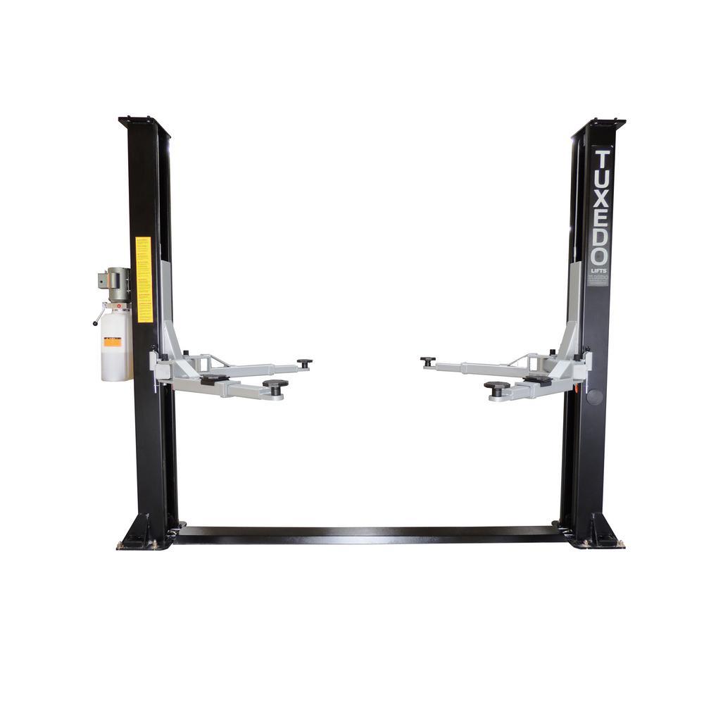 TUXEDO Symmetric 2 Post Floor Plate 9,000-lbs Capacity Heavy Duty - Black